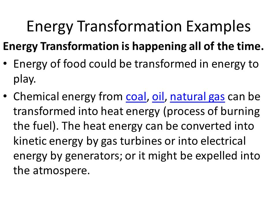 Energy Transformation And The Law Of Conservation Of Energy Ppt