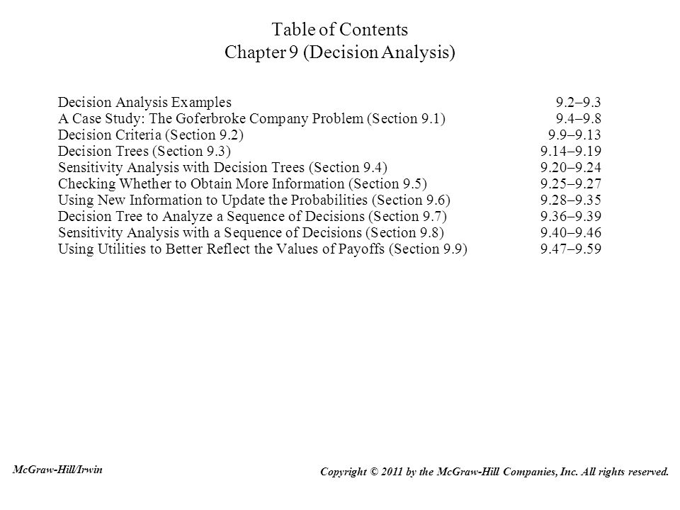 Table Of Contents Chapter 9 Decision Analysis Ppt Download