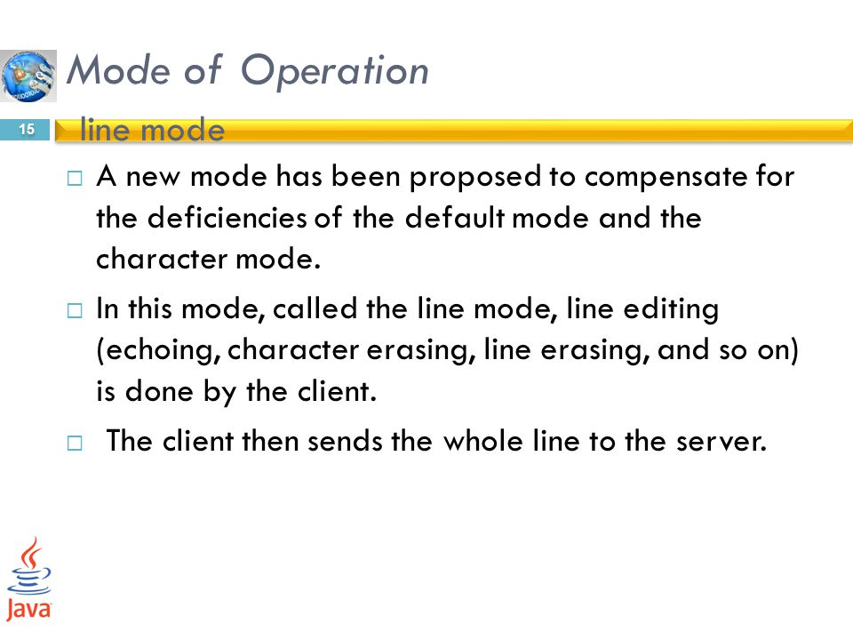 Mode of Operation line mode