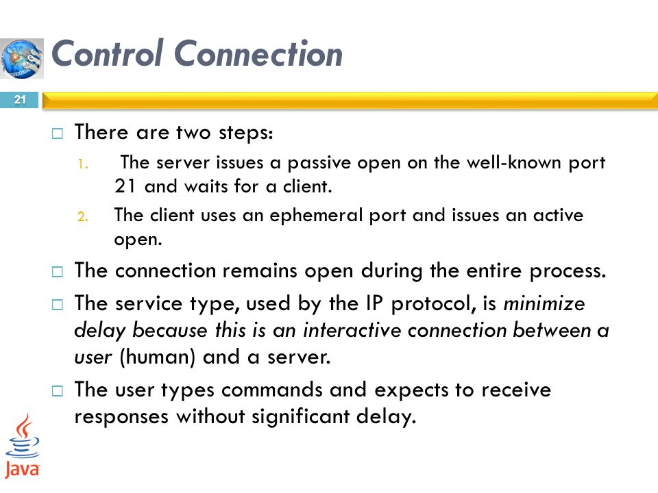 Control Connection There are two steps: