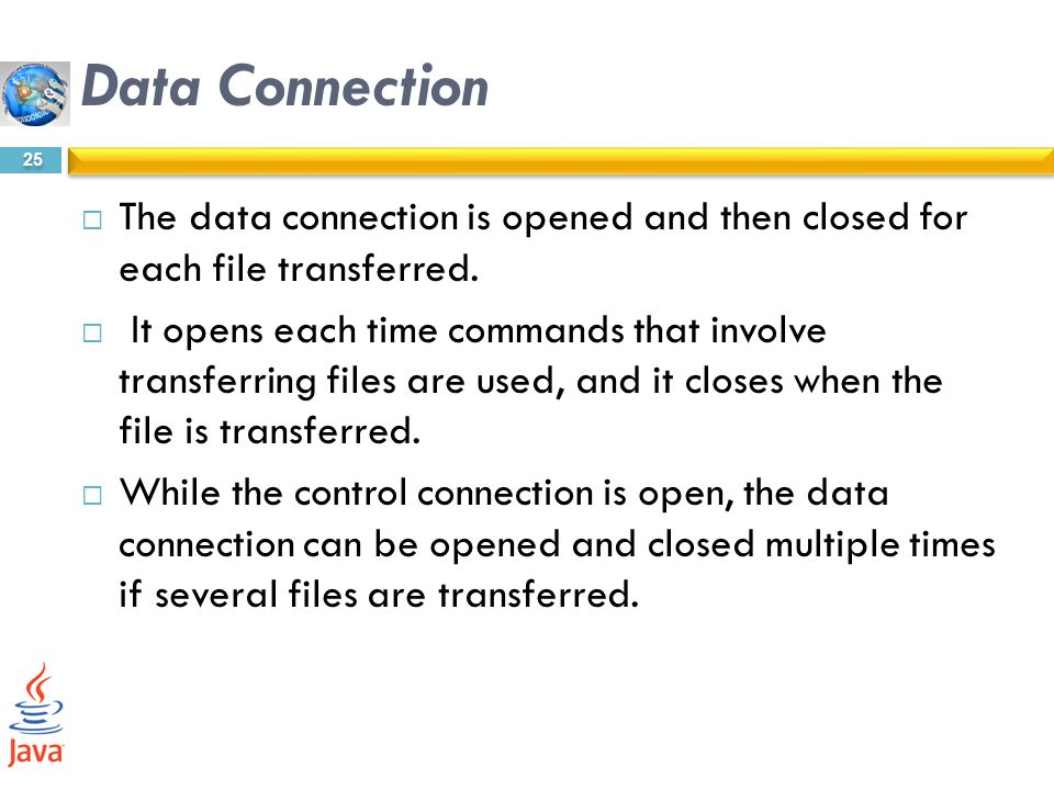 Data Connection The data connection is opened and then closed for each file transferred.