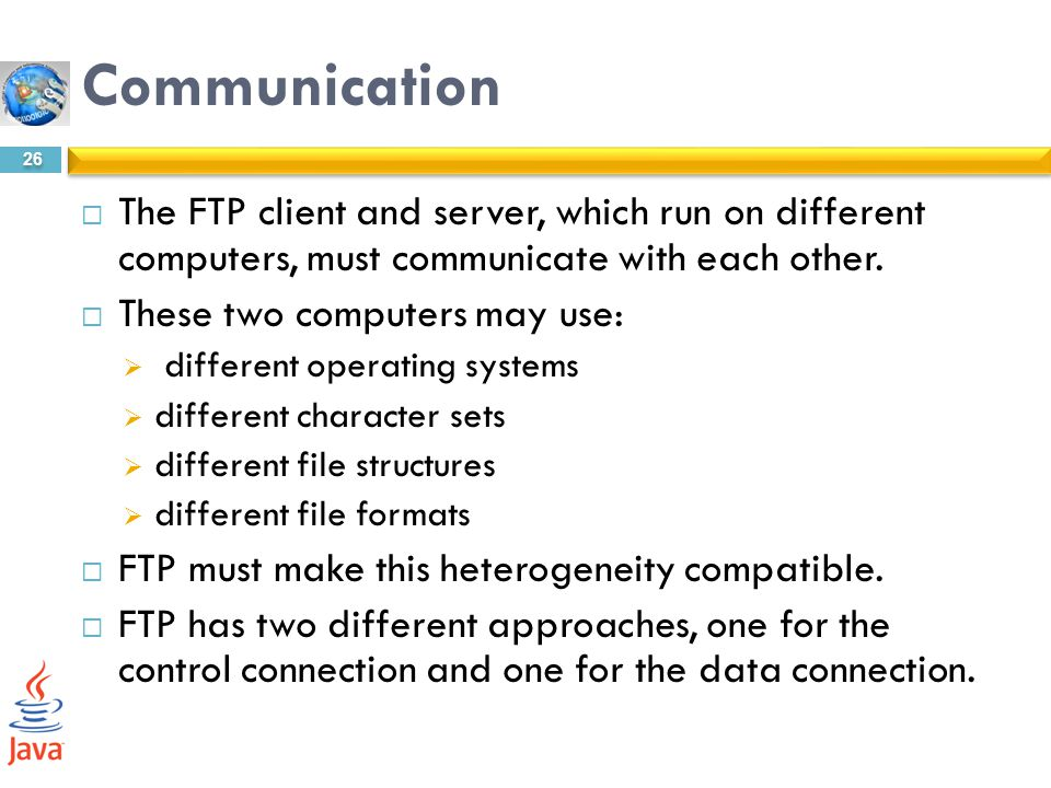 Communication The FTP client and server, which run on different computers, must communicate with each other.