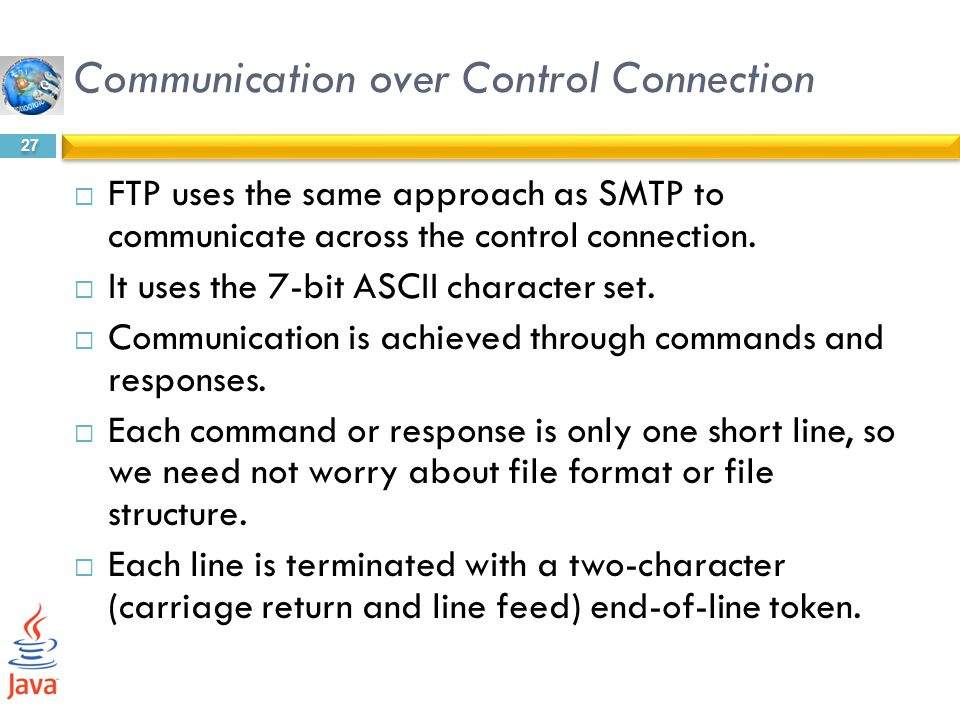 Communication over Control Connection