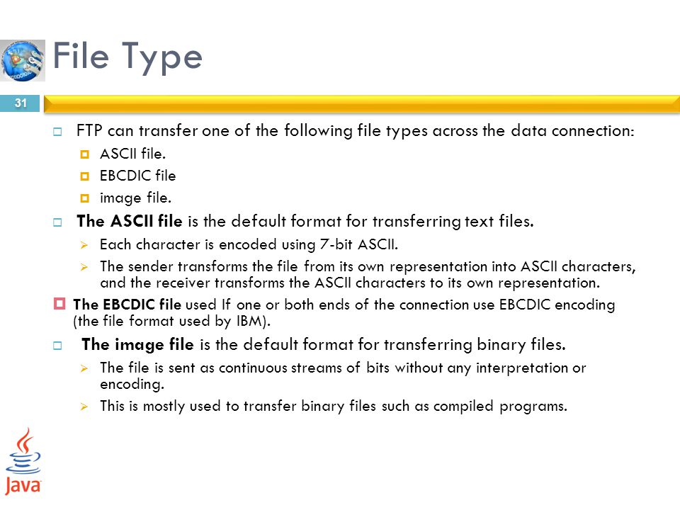 File Type FTP can transfer one of the following file types across the data connection: ASCII file.