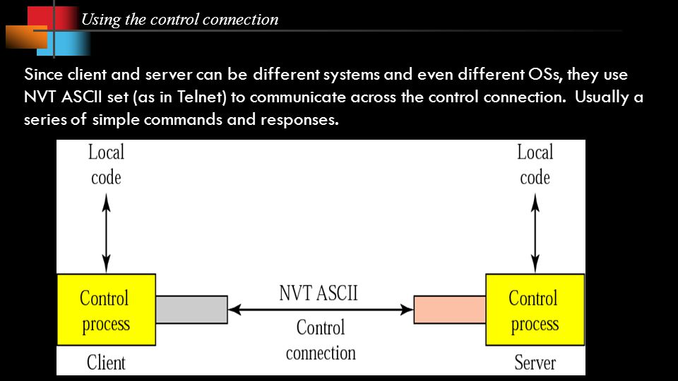 Using the control connection