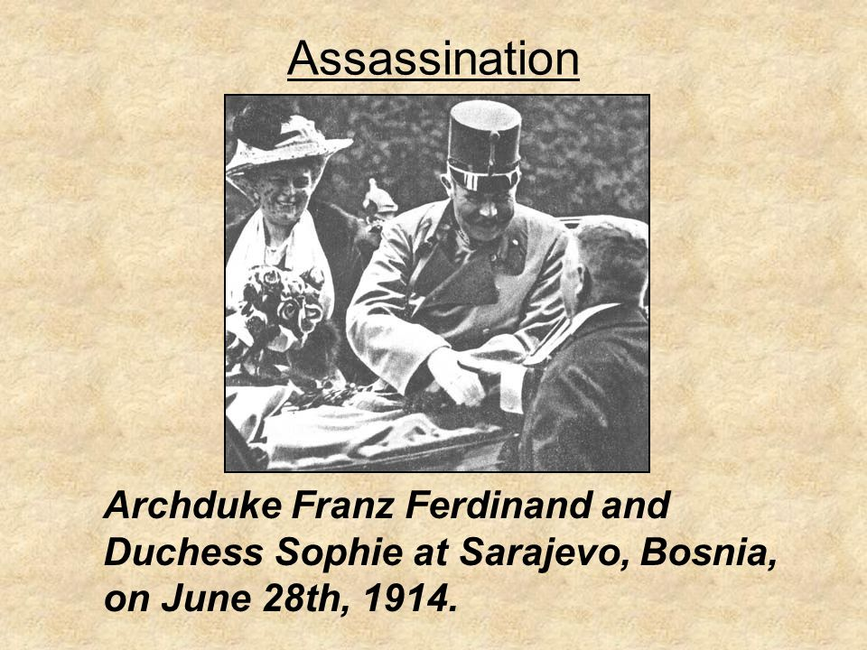 Assassination Archduke Franz Ferdinand and Duchess Sophie at Sarajevo, Bosnia, on June 28th, 1914.