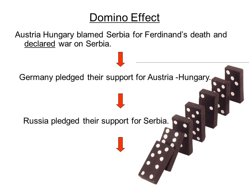 Domino Effect Austria Hungary blamed Serbia for Ferdinand's death and declared war on Serbia. Germany pledged their support for Austria -Hungary.