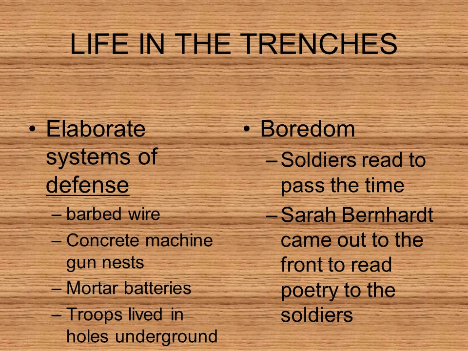 LIFE IN THE TRENCHES Elaborate systems of defense Boredom