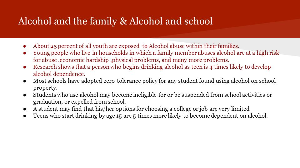 Alcohol and the family & Alcohol and school