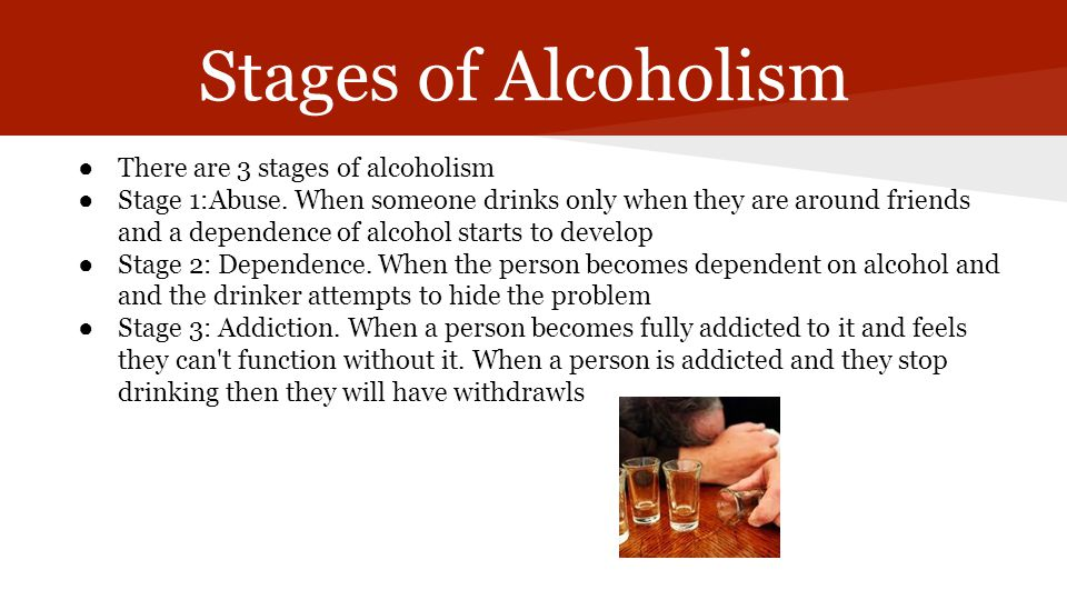 Stages of Alcoholism There are 3 stages of alcoholism