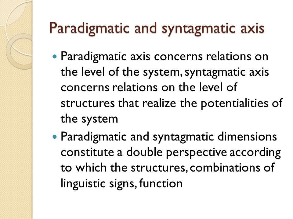 Syntagmatic and paradigmatic relationships dating