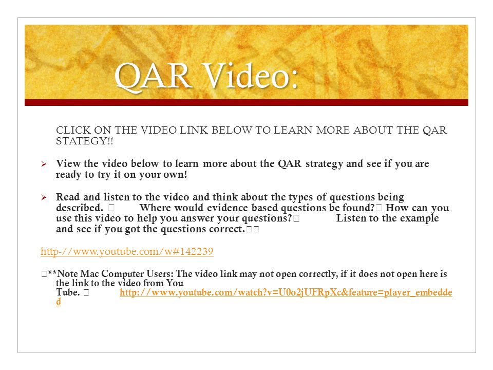 QAR Video: CLICK ON THE VIDEO LINK BELOW TO LEARN MORE ABOUT THE QAR STATEGY!!