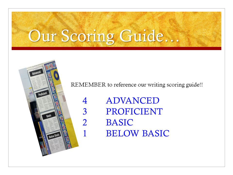 Our Scoring Guide… 3 PROFICIENT 2 BASIC 1 BELOW BASIC