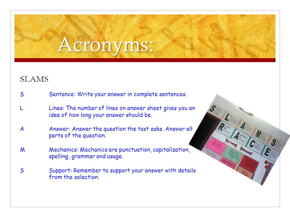 Acronyms: SLAMS S Sentence: Write your answer in complete sentences.