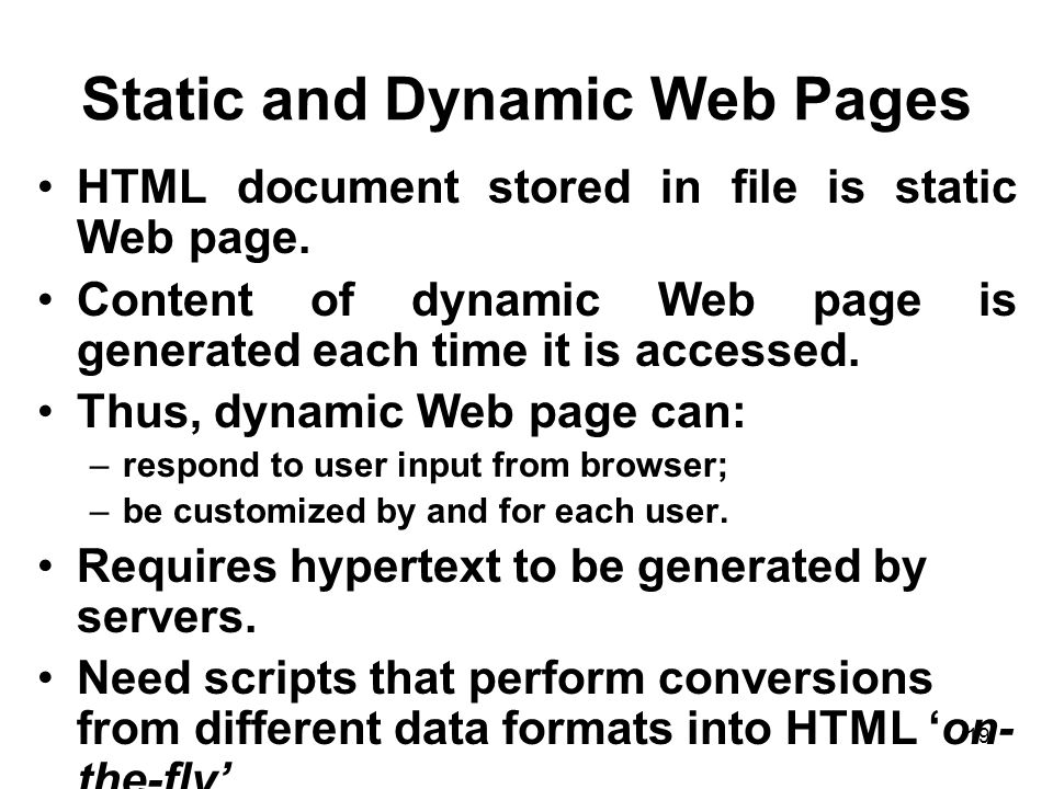 Static and Dynamic Web Pages
