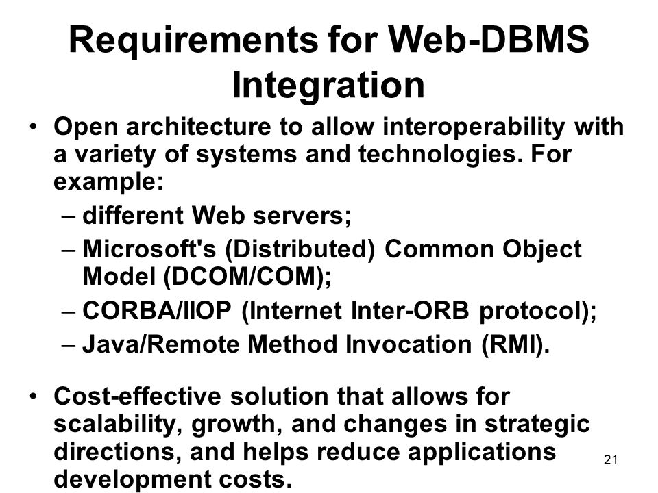 Requirements for Web-DBMS Integration