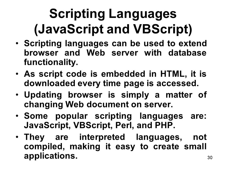 Scripting Languages (JavaScript and VBScript)