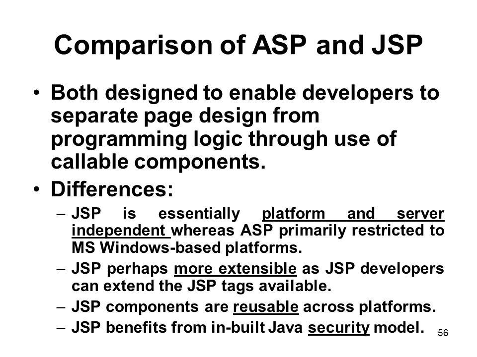 Comparison of ASP and JSP
