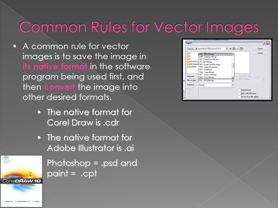 Common Rules for Vector Images