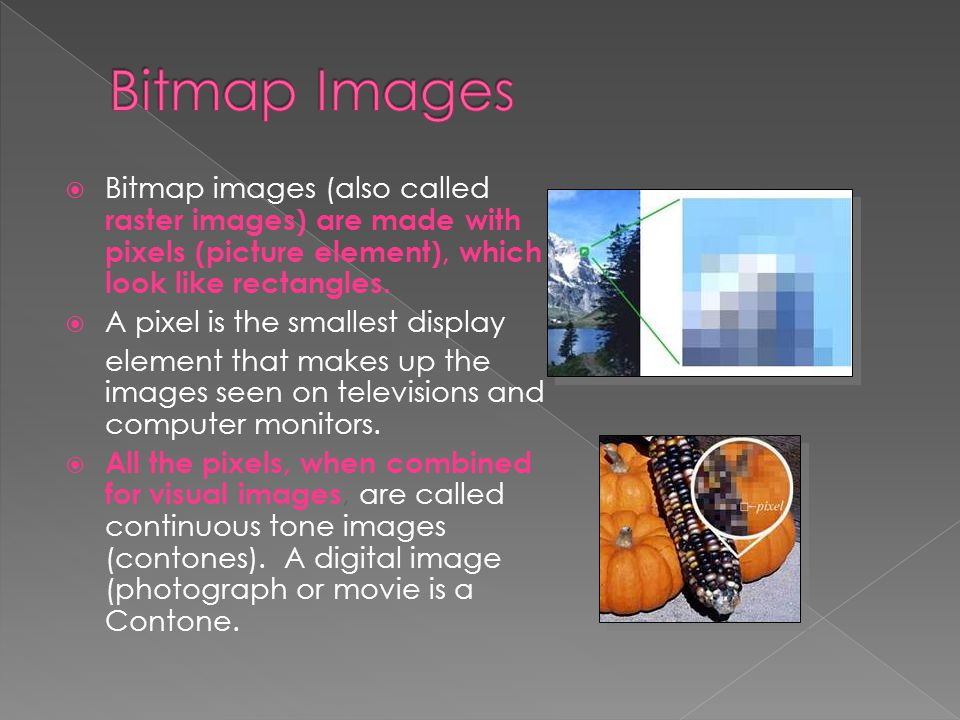 Bitmap Images Bitmap images (also called raster images) are made with pixels (picture element), which look like rectangles.