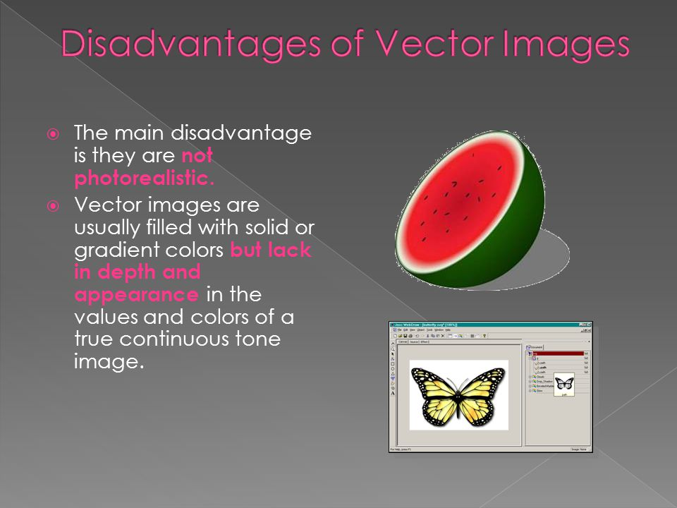 Disadvantages of Vector Images