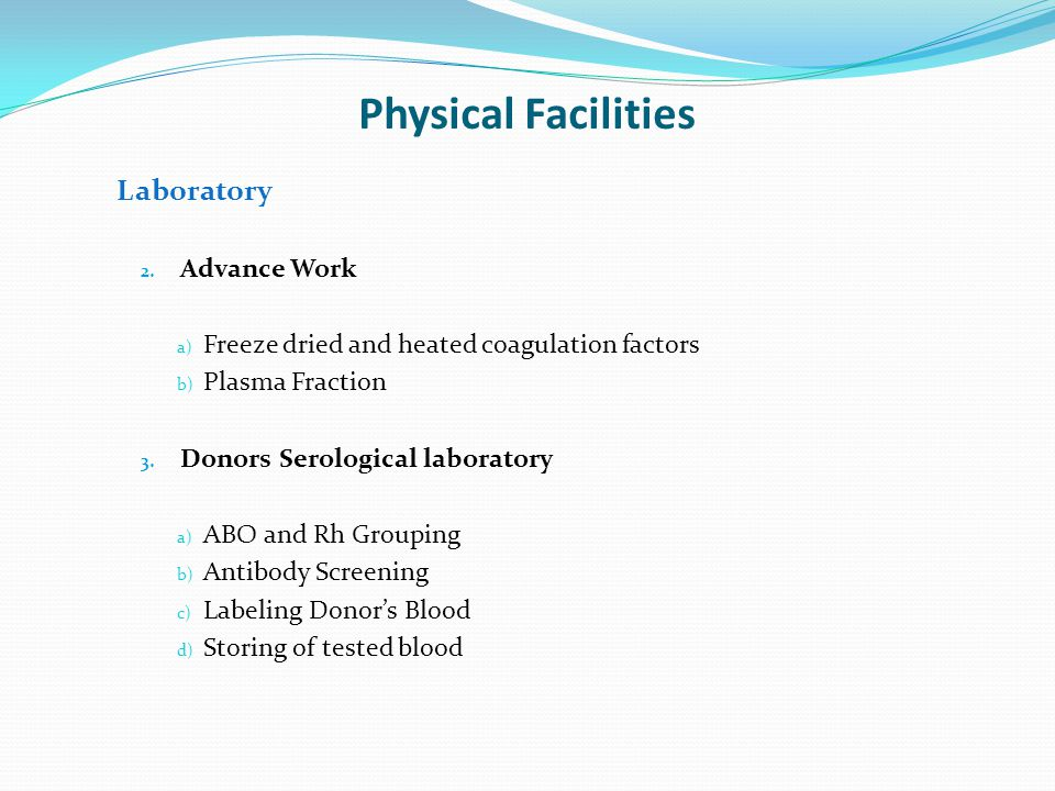 Physical Facilities Laboratory Advance Work