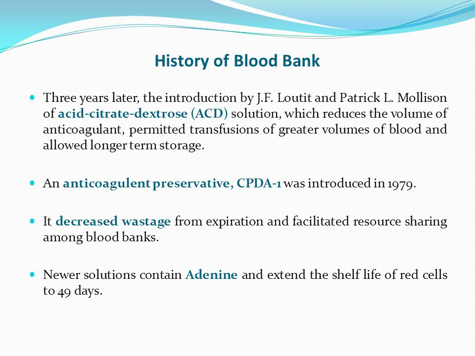 History of Blood Bank