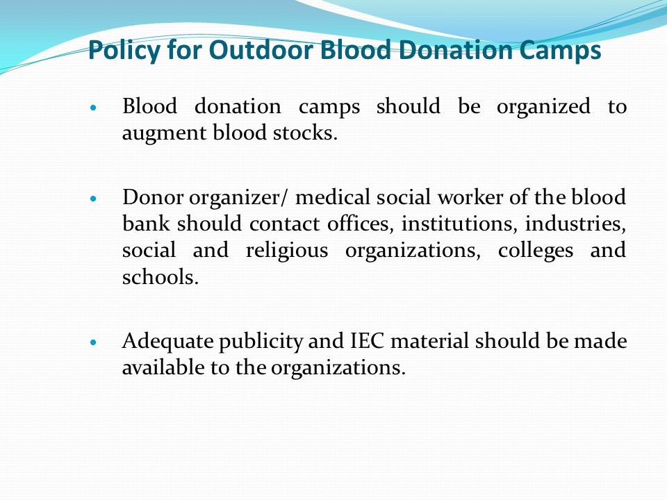 Policy for Outdoor Blood Donation Camps