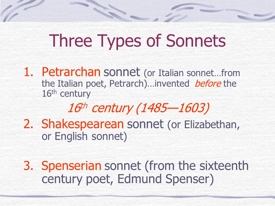 types of sonnet