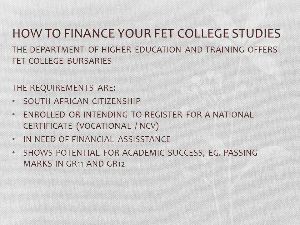HOW TO FINANCE YOUR FET COLLEGE STUDIES