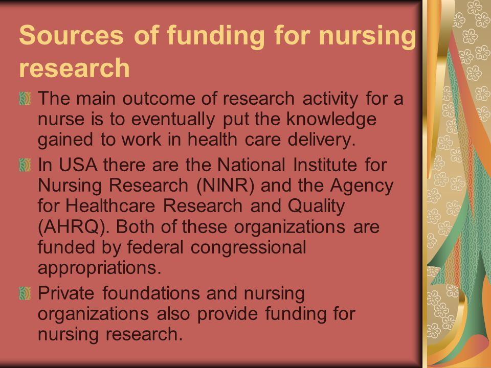 Sources of funding for nursing research