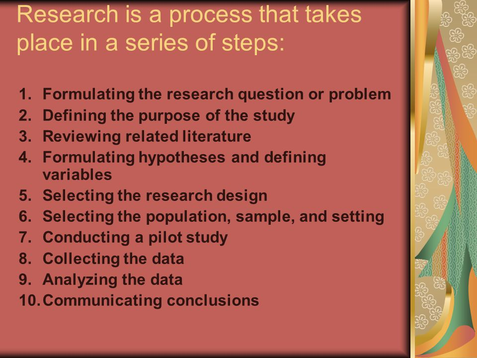 Research is a process that takes place in a series of steps: