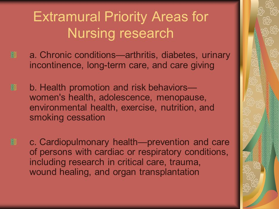 Extramural Priority Areas for Nursing research