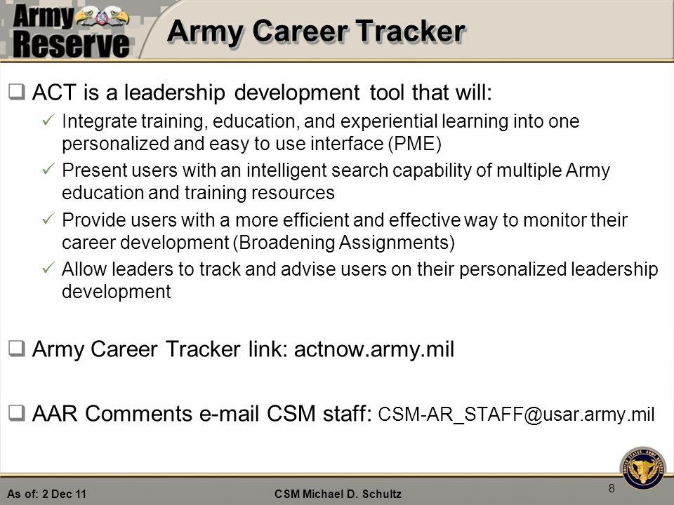 """Take Charge!"""" CSM Michael D  Schultz Command Sergeant Major"""