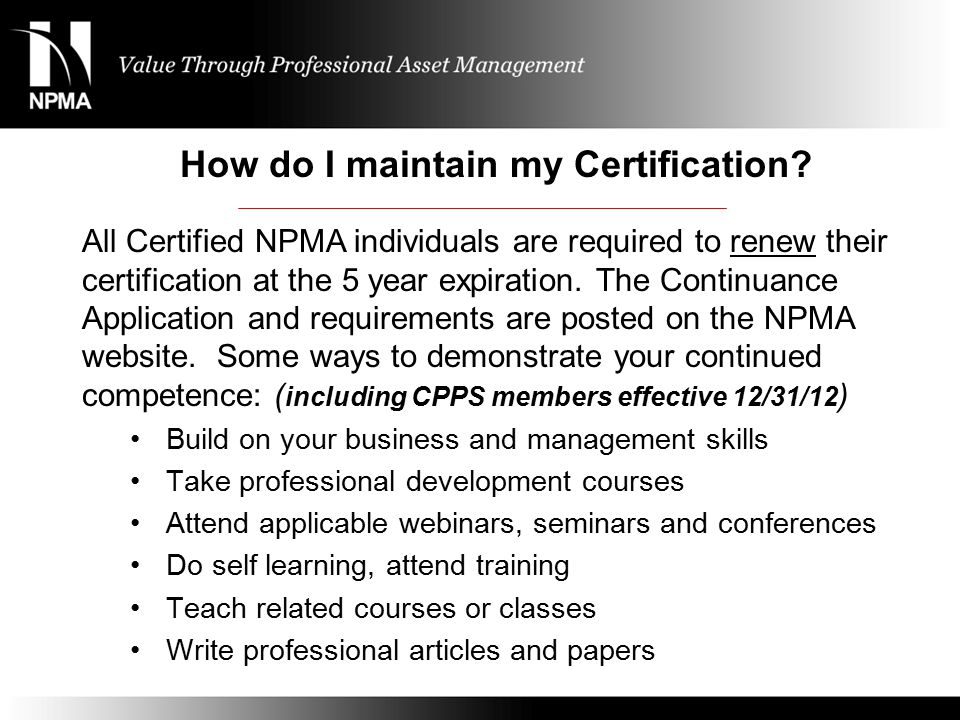 NPMA Certification Program Presented by - ppt video online download