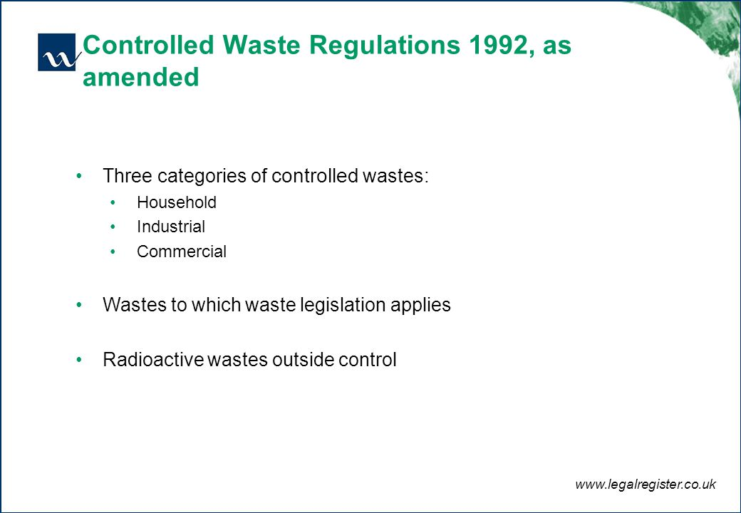Content Definition Of Waste Current Legislation And Guidance