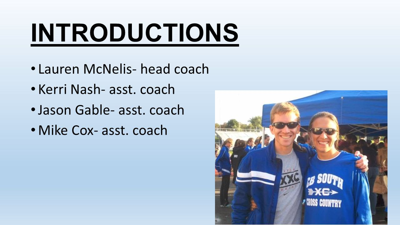 INTRODUCTIONS Lauren McNelis- head coach Kerri Nash- asst. coach
