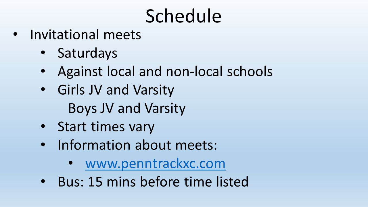 Schedule Invitational meets Saturdays