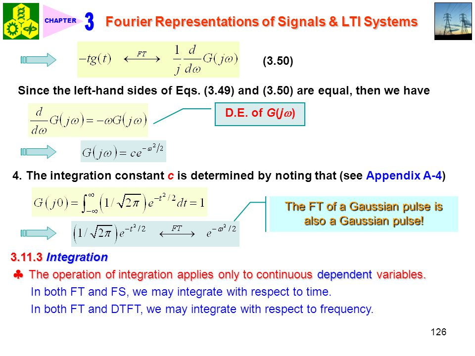 3 CHAPTER. Fourier Representations of Signals & LTI Systems. (3.50) Since the left-hand sides of Eqs. (3.49) and (3.50) are equal, then we have.