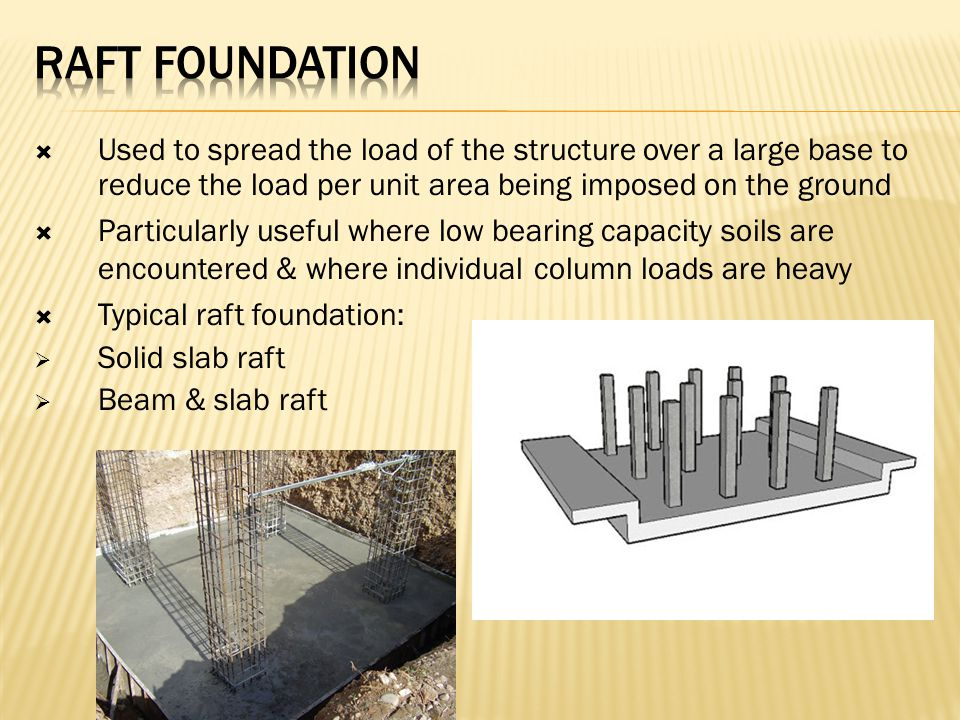 Raft foundation Used to spread the load of the structure over a large base to reduce the load per unit area being imposed on the ground.