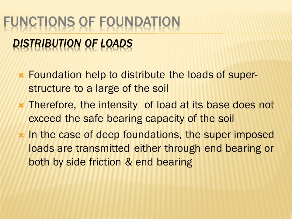 Functions of foundation
