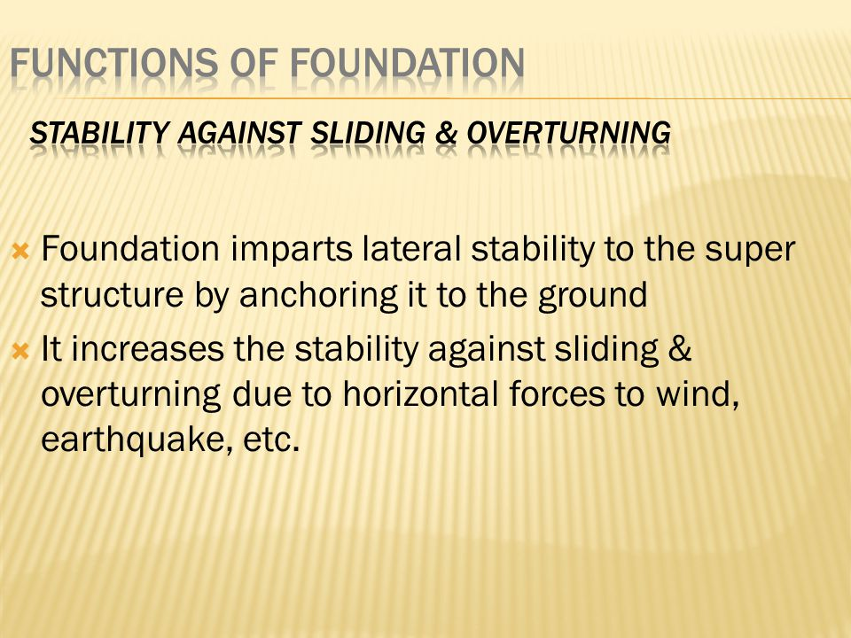 Stability against sliding & overturning