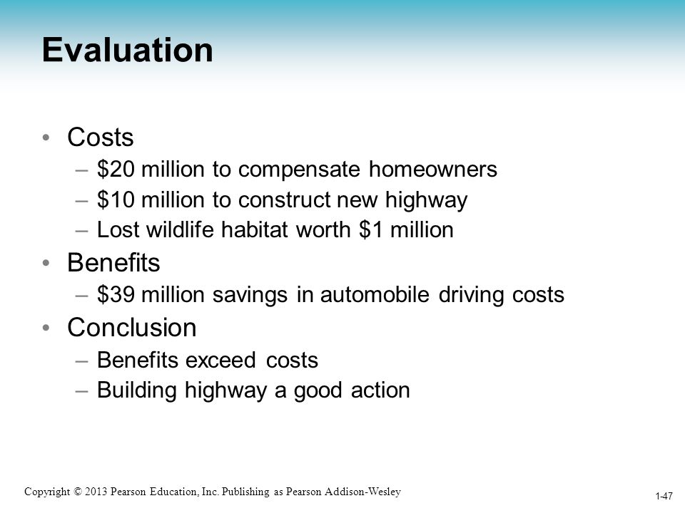 Evaluation Costs Benefits Conclusion