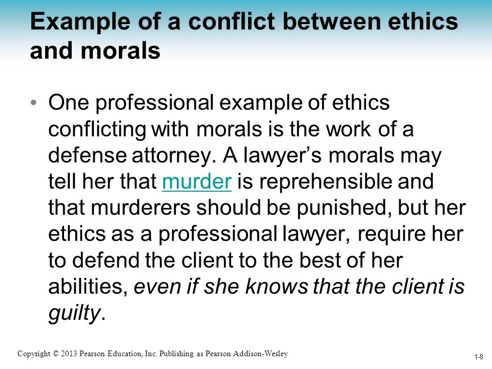 Example of a conflict between ethics and morals