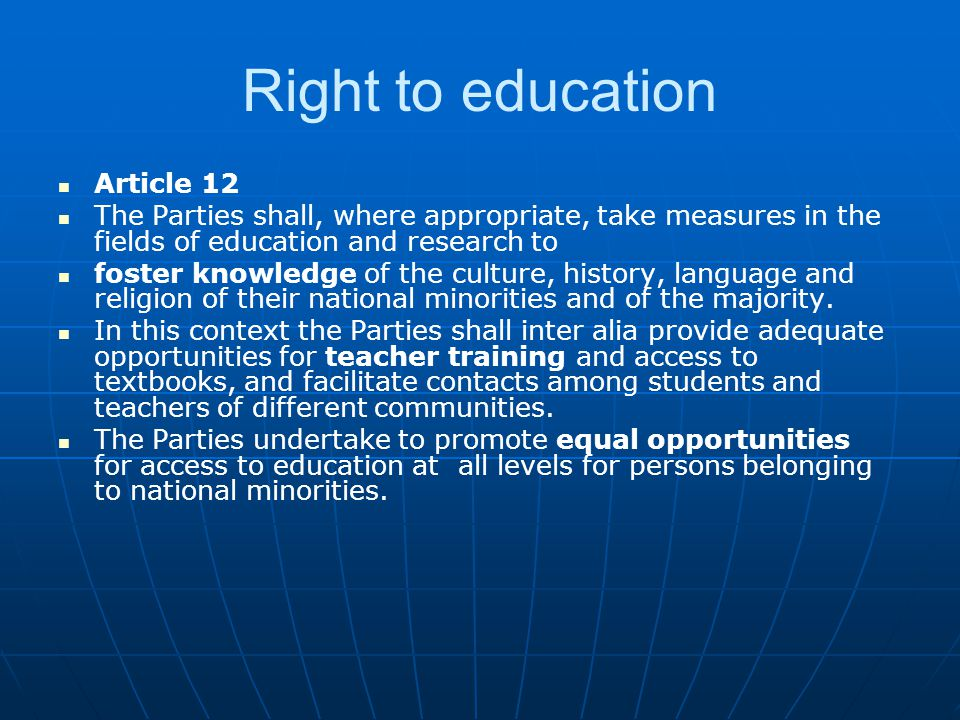 Right to education Article 12