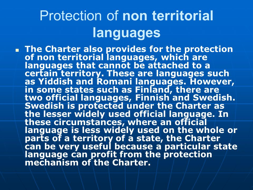 Protection of non territorial languages