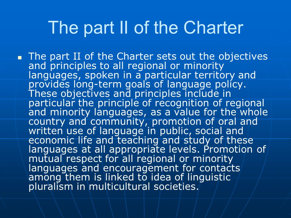 The part II of the Charter