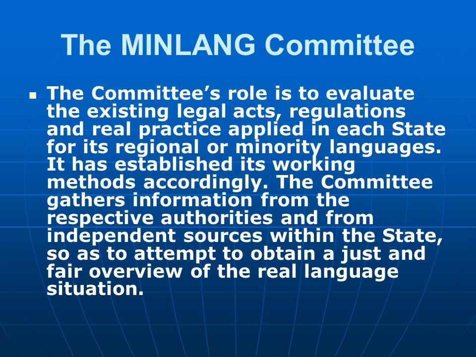 The MINLANG Committee
