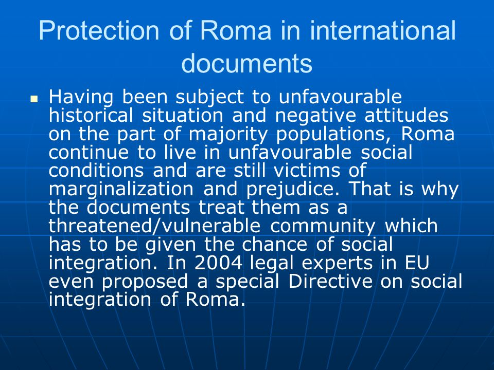 Protection of Roma in international documents