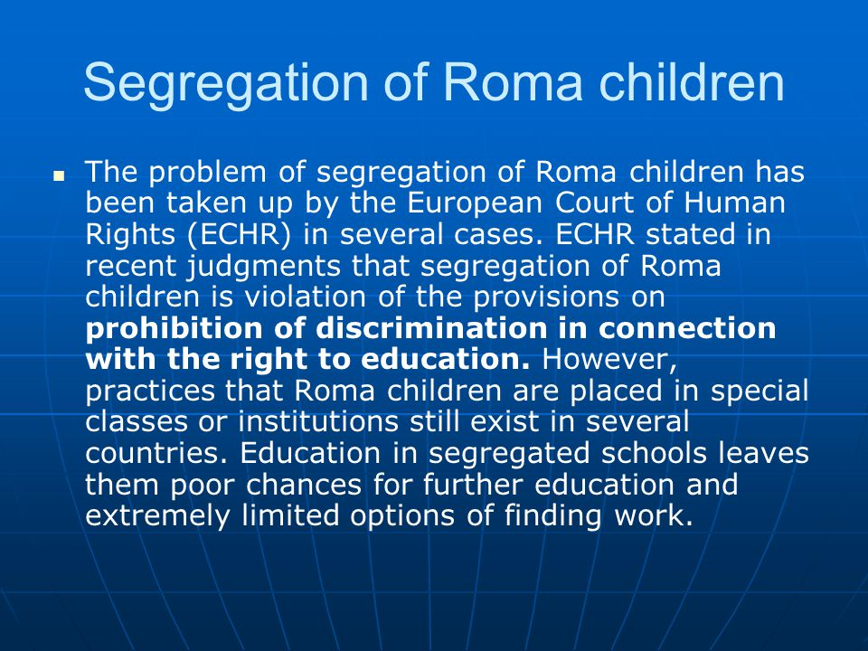 Segregation of Roma children